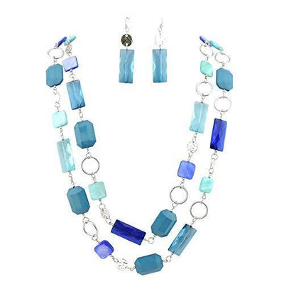 "Bocar 2 Long Fashion Strand Chain Statement Beaded Women 36"" Necklace (NK-10468-blue)"