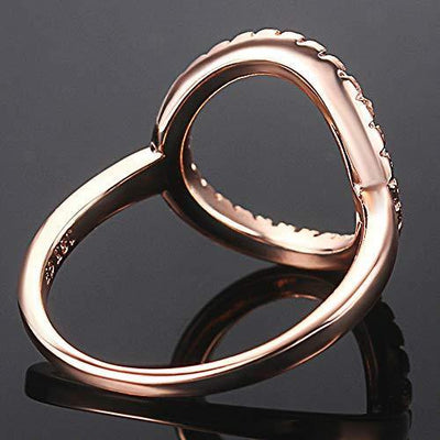 Silver Rose Gold Open Circle Karma Promise Statement Ring (Rose Gold, 6)