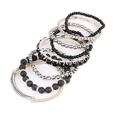 Multi Color Stretch Beaded Stackable Bracelets - Layering Bead Strand Statement Bangles (Natural Stone - Lava/Silver, 7)
