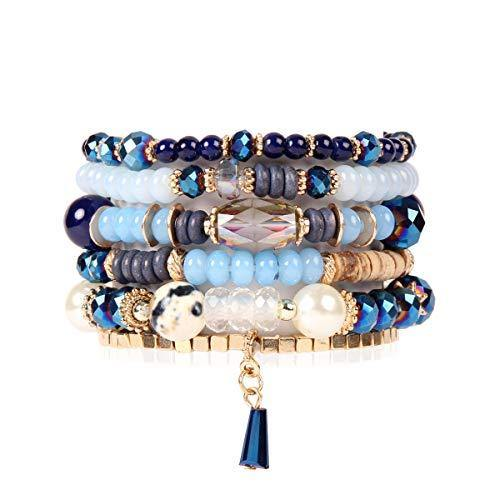 Bead Multi Layer Versatile Statement Bracelets - Stackable Beaded Strand Stretch Bangles Sparkly Crystal Mix, Tassel Charm (Navy)