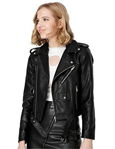 Jhichic Women's Faux Leather Textured Short Moto Jacket Zip-up Slim PU Biker Coat with Pockets (Black, M)