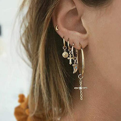 Missgrace Gold Rhinestones Cross and Leaf Earrings Set with Tassel Earrings Layered Cross Dangle Hoop Stud Jacket Earrings for Women Girls Jewelry Fashion Valentine Birthday Party Christmas (Style 6)