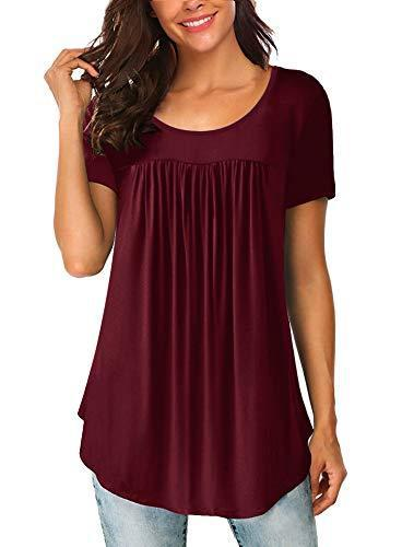 Yidarton Womens Scoop Neck Pleated Blouse Solid Color Tunic Tops Shirts,Wine Red,X-Large