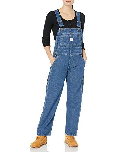 Key Women's Bib Overall, Indigo Denim Enzyme Wash, 12 Short