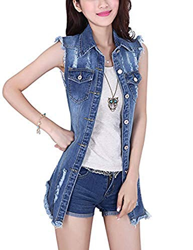 Tanming Women's Sleeveless Button Down Ripped Denim Jean Vest Waistcoat Jacket (Large, Blue)