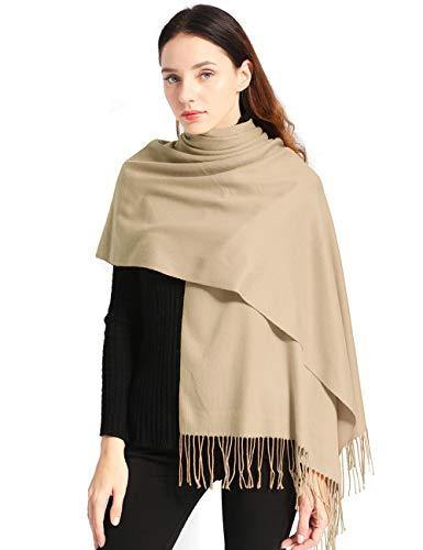 "Women Soft Pashmina Scarf Large Cashmere Scarves Stylish Warm Blanket Solid Winter Shawl Elegant Wrap 78.5""x27.5"" (Beige, Bag packing)"