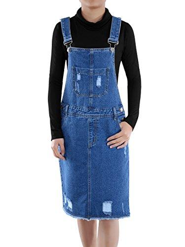 Anna-Kaci Junior Womens Distressed Denim Adjustable Strap Overall Dress, Blue, Large - PRTYA