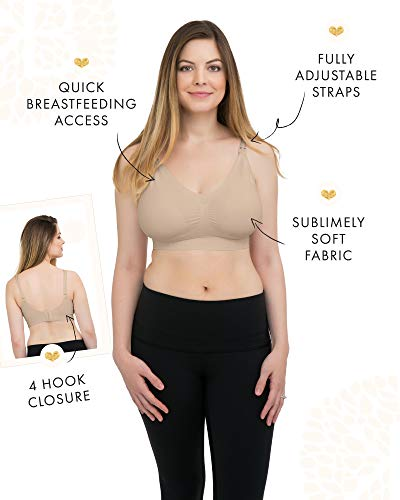 Kindred Bravely Simply Sublime Seamless Nursing Bra for Breastfeeding | Wireless Maternity Bra (Beige, Large)