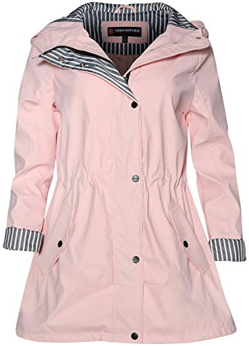 Urban Republic Women's Lightweight Hooded Raincoat Jacket with Cinched Waist, Baby Pink, Size Large