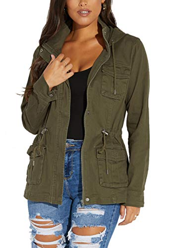 SheKiss Womens Zipper Up Safari Military Anorak Jackets Camouflage Lightweight Outwear Coat with Pockets, Army Green, XX-Large
