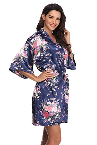 Women's Floral Bride Bridesmaids Robe Satin Wedding Kimono Bridal Dressing Gown Sleepwear, Navy, M