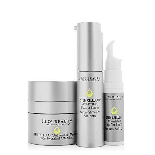 Juice Beauty Stem Cellular Anti-Wrinkle Solutions Kit - Age Defying Daily Skincare Set with Facial Serum, Face Moisturizer and Eye Cream Treatment - Made with Organic Ingredients (3 Products)