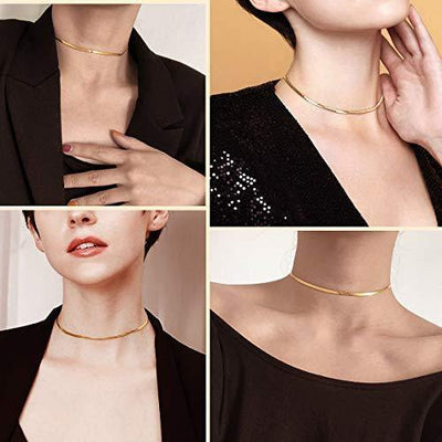 Gold Snake Choker Necklace Women 12inch+9cm Chic Dainty Choker Chain Layered Necklace Teen Girls Gift