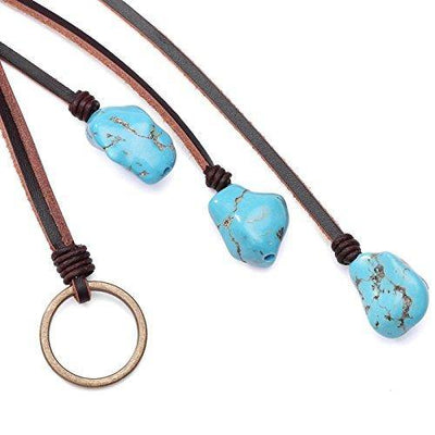 Vintage Turquoise Pendant Necklace on Genuine Leather Cord Strand Girls Long Lariat Necklace Handmade Y-shaped Jewelry for Women Boho Gemstone Necklace on Valentine's Day