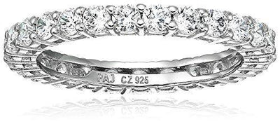 Amazon Essentials Platinum Plated Sterling Silver Round Cut Cubic Zirconia All-Around Band Ring (2.5mm), Size 6