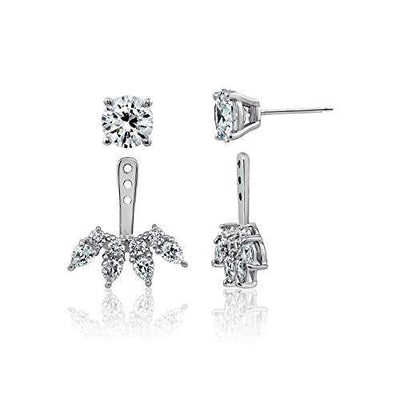 J'ADMIRE 5.18 carats Swarovski Zirconia Fashion Forward Earring Jackets, Platinum Plated Sterling Silver