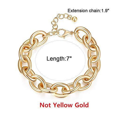 Gold Bracelets for Women - Lane Woods 14k Gold Plated Wide Cuban Curb Link Bracelet