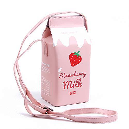 LUI SUI Girls Fruits Banana Strawberry Milk Box Cross Body Purse Bag Women Phone Wallet Shoulder Bags