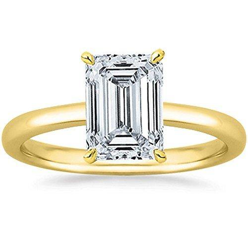 1 Carat GIA Certified 18K Yellow Gold Solitaire Emerald Cut Diamond Engagement Ring (1 Ct D-E Color, VS1-VS2 Clarity)