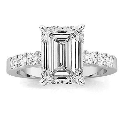 1.5 Ctw Emerald Cut Classic Prong Set Round 14K White Gold Diamond Engagement Ring (I-J Color VS1-VS2 Clarity 1 Ct Center)