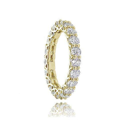 Hoops & Loops Yellow Gold Flashed Sterling Silver Cubic Zirconia 3mm Round-Cut Eternity Band Ring