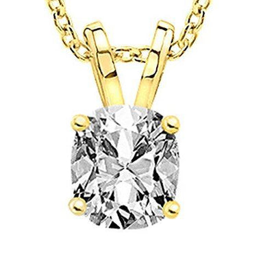 1/2 Carat 18K Yellow Gold GIA Certified Cushion Cut Diamond Pendant Necklace Premium Collection (G-H Color, SI1-SI2 Clarity) - 0.50 Ct 16 inch gold chain