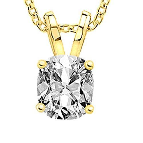"0.75 3/4 Carat Cushion Diamond Solitaire Pendant Necklace F-G Color SI1-SI2 Clarity w/ 18"" 14K Gold Chain"