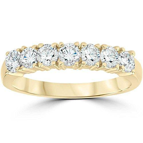 1ct Diamond Wedding Ring Anniversary 14k Yellow Gold 7-Stone Womens Band - Size 8