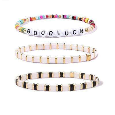 Badu 2Pcs Hematite Bracelet for Women, Fashion Stretch Bracelets, Promise Bracelet for Couples, Multicolor Bracelets (Combination 3-3 pieces)