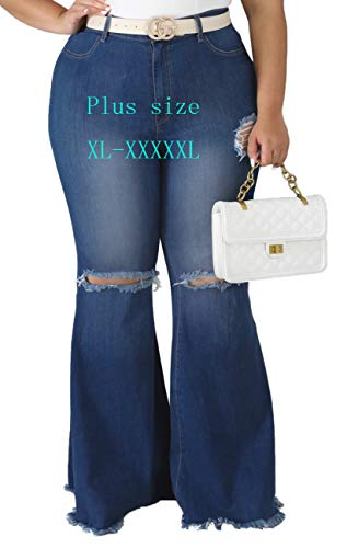 Women Ripped Bell Bottom Jeans Plus Size Classic High Waisted Flared Jean Pants 4XL Blue