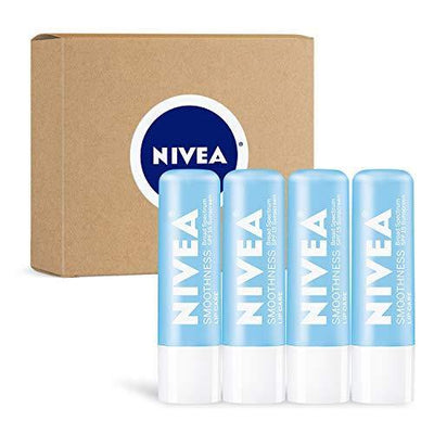NIVEA Smoothness Lip Care - Broad Spectrum SPF 15 Moisturizing Lip Balm - Pack of 4