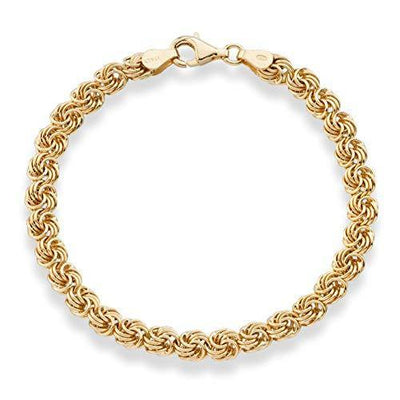 Miabella 18K Gold Over Sterling Silver Italian Love Knot Rosette Link Chain Bracelet for Women 6.5, 7, 7.5, 8 Inch 925 Handmade in Italy (7)