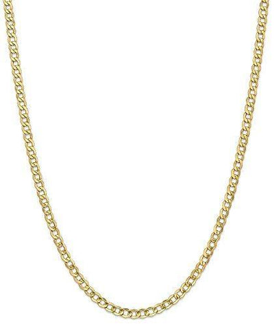 14k Yellow Gold 4.3mm Curb Cuban Link Chain Necklace 20 Inch Pendant Charm Fine Jewelry For Women Gifts For Her