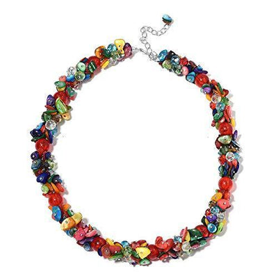Shop LC Delivering Joy Multi Color Shell Cubic Zirconia CZ Bead Strand Necklace Prom Fashion Jewelry for Women 20-23""
