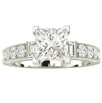 1.5 Carat 14K White Gold Round Half Bezel Baguette GIA Certified Princess Cut Diamond Engagement Ring (1 Ct J Color VS1 Clarity Center Stone)