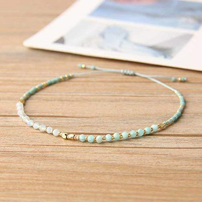 KELITCH Handmade Strands Bracelets Tiny Colorful Crystal Seed Beaded Bracelets Adjustable Rope Hand Chains (Light Green)