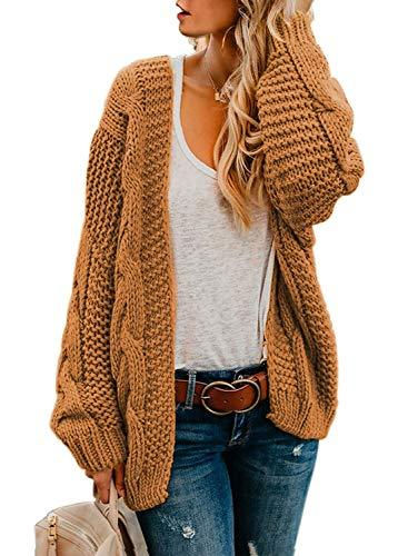 Astylish Womens Fashion Winter Fall Thick Cozy Open Front Long Sleeve Chunky Knitting Ribbed Cardigan Sweater Small Size 4 6 Yellow Brown - PRTYA