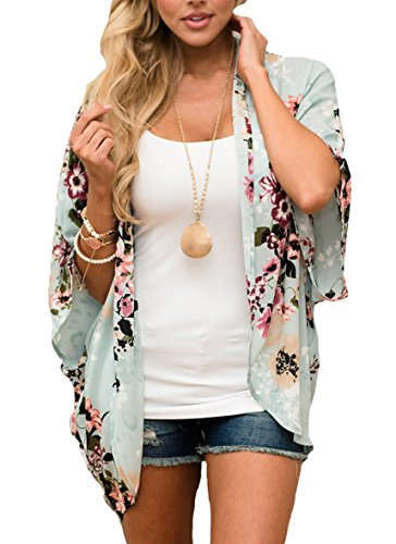 PRETTODAY Women Floral Kimono Loose Half Sleeve Shawl Chiffon Casual Coat (M, Mint)