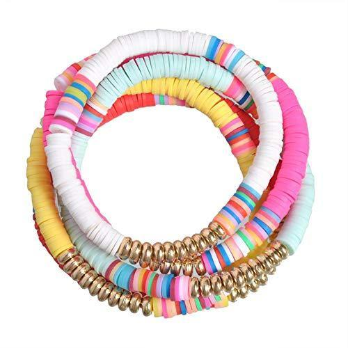 5 Pcs Colorful Sliced Clay Bracelets Handmade Rainbow Polymer Elastic Rope Boho Beaded Bracelet Set Summer Beach Surf Stackable Stretch Colorful Bracelets Jewelry for Women