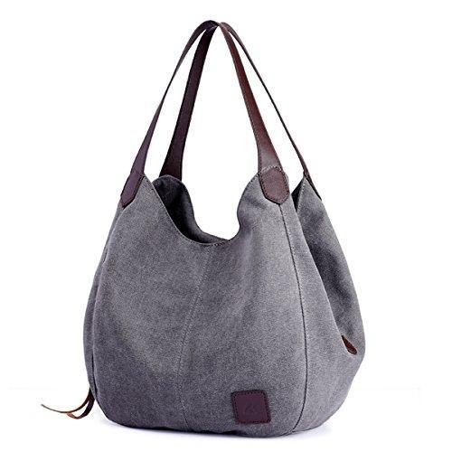 DOURR Women's Multi-pocket Shoulder Bag Fashion Cotton Canvas Handbag Tote Purse (Gray)