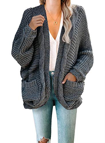 Dokotoo Womens Oversized Fashion 2020 Ladies Winter Fall Warm Cozy Open Front Pockets Long Sleeve Chunky Cable Knitting Soft Cardigan Sweater Pullover Coats for Women Jacket Outerwear Grey Medium - PRTYA