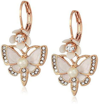 Betsey Johnson Rose Gold Butterfly Drop Earring, White, One Size