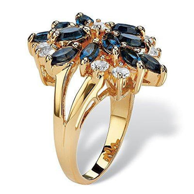 Palm Beach Jewelry 18K Yellow Gold Plated Marquise Shaped Blue Floral Ring Made with Swarovski Elements Size 8