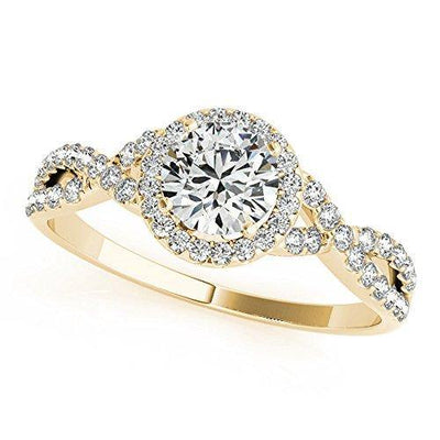 JewelMore 1/2 Carat Halo Daimond Engagement Bridal Ring Set 14K Solid Yellow Gold (I-J/I2-I3) (6)