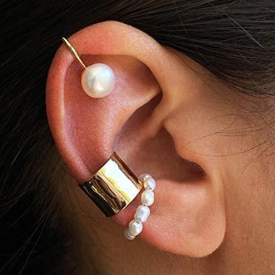 Gold Ear Cuff Set by Nusabella - 6 Ear Cuffs for Non Pierced Ears for Women & Men - Fake Piercing Jewelry Collection - Beautiful Double Hoop, Pearl, Band Cuffs - Pircing para La Oreja de Mentira