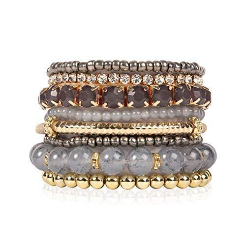 Multi Color Stretch Beaded Stackable Bracelets - Layering Bead Strand Statement Bangles (Original - Grey, 7)