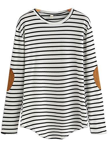 Milumia Women's Elbow Patch Striped High Low Top T-Shirt Medium White and Black