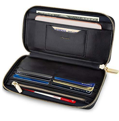 SERMAN BRANDS Women's Classic Clutch Wallets for Women RFID Blocking. Black Purse Card Wallet w. Phone Holder (Iconic)
