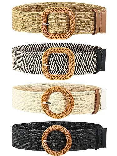 4 Pieces Straw Woven Elastic Stretch Waist Belt Women Skinny Dress Belt Wooden Style Buckle Waist Dress Band