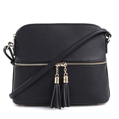 SG SUGU Lunar Lightweight Medium Dome Crossbody Bag Shoulder Bag with Double Tassels | Zipper Pocket | Adjustable Strap